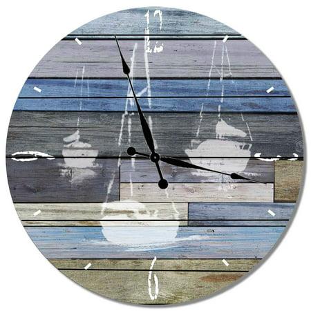 Image of Daydream Gizaun Art 3 Sail Boats Indoor / Outdoor Cedar Wall Clock