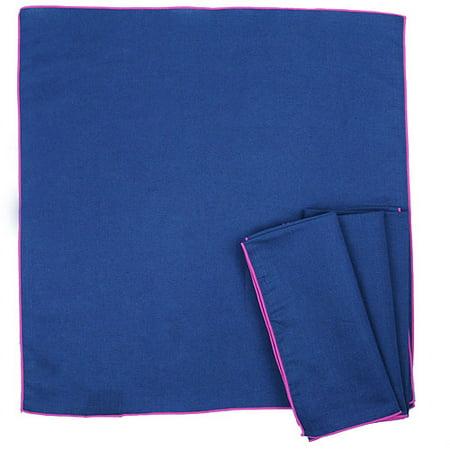 Calyz for Global Goods Partners Serge Stitch Navy Napkins, Set of 4 (Blue Cloth Napkins)