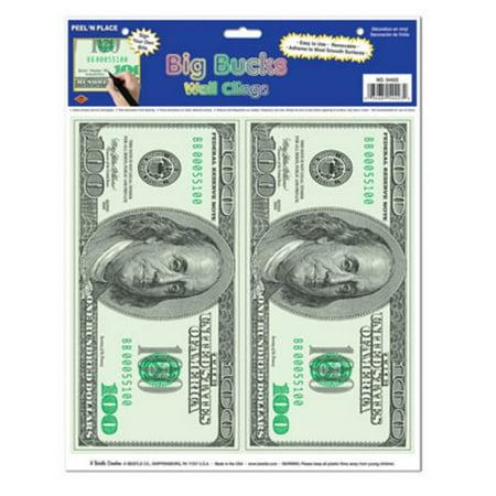 Club Pack of 24 Casino Theme Big Bucks Money Peel 'N Place Window or Wall Clings