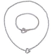 CZ 1290SET-29 Stylish Tennis C.Z. Diamond Heart Necklace Bracelet Set