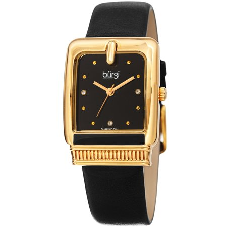 Black Leather Diamond Watch (Burgi  Ladies Diamond Buckle Case Black Leather Strap Watch)