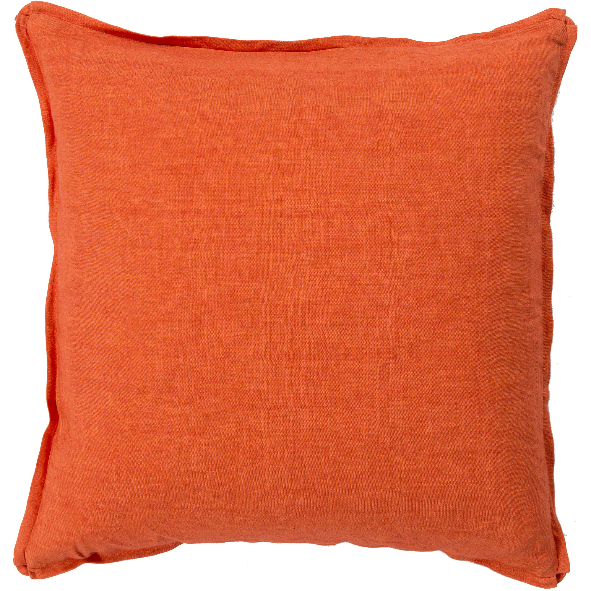 Libby Langdon Luxe Hand Crafted Linen Fancy Flange Decorative Pillow with Poly Filler, Poppy