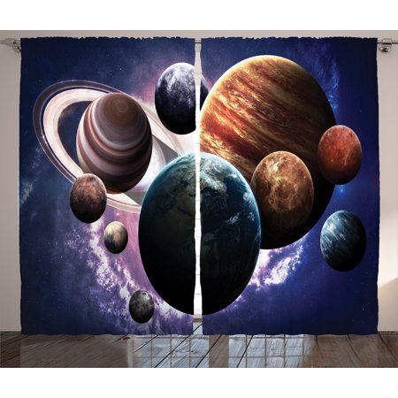 Space Decorations Curtains 2 Panels Set, Solar System Planets All Together Space Mercury Jupiter Globe Saturn Universe, Window Drapes for Living Room Bedroom, 108W X 90L Inches, Multi, by Ambesonne - Solar System Decorations