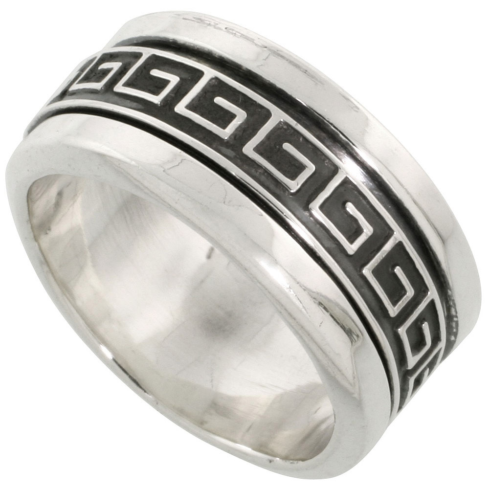 Sterling Silver Men's Spinner Ring Greek Key Pattern Center Handmade 3 8 inch wide, by WorldJewels