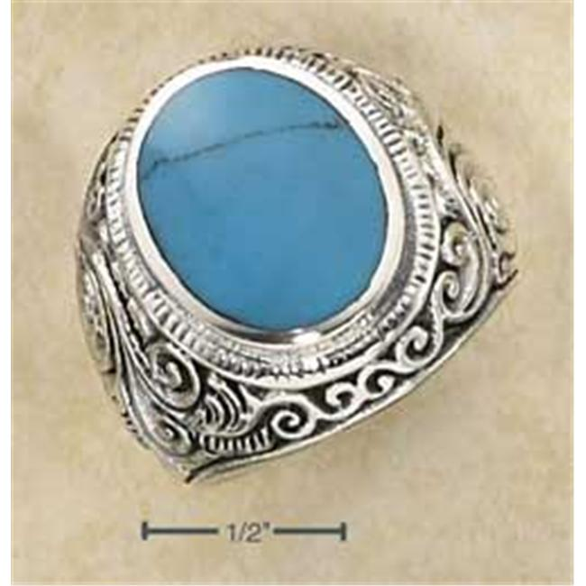 Plum Island Silver SR-2065-09 Sterling Silver Mens LG Bezel Set Oval Turquoise Ring with Tapered Scrolled Floral Ban - Size 9