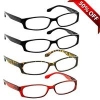 Reading Glasses +1.50 | 4 Pack of Readers for Men and Women | 2 Black Tortoise Red