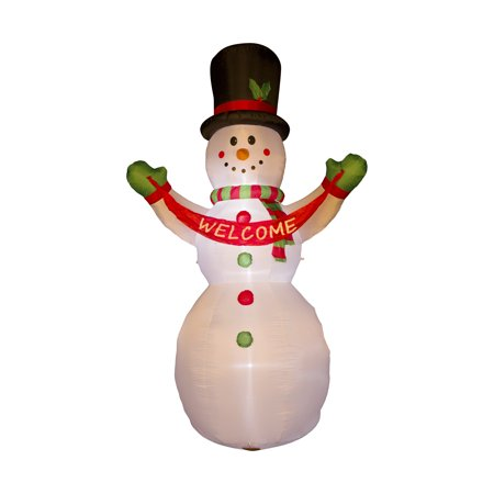Glitzhome 11.8FT H Lighted Inflatable Snowman with Welcome Sign Christmas Outdoor Décor (Christmas Snowmen)