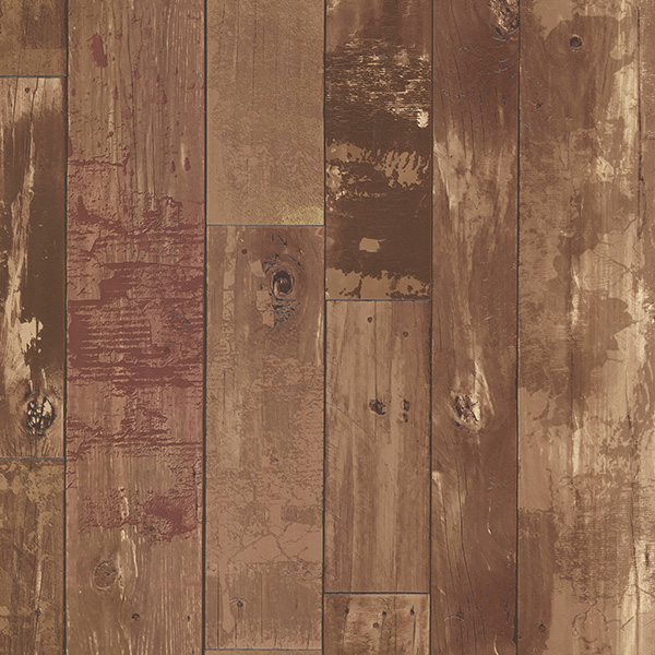 Brewster Heim Brown Distressed Wood Panel Wallpaper