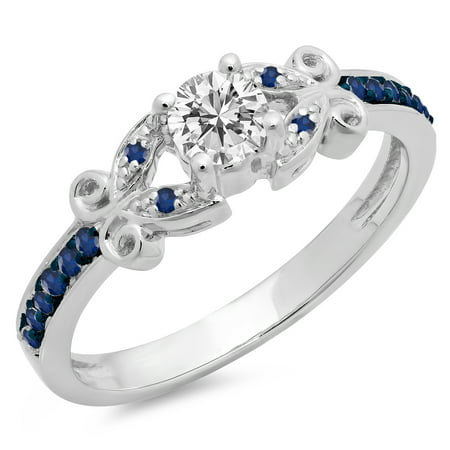 Dazzlingrock Collection 14K Round Blue Sapphire & White Diamond Bridal Vintage Style Engagement Ring, White Gold, Size 9