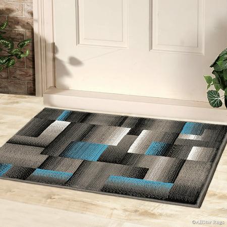 Blue AllStar Doormat Accent Rug Modern. Contemporary Woven Area Rug. Drop-Stitch Weave Technique. Carved Effect. Vivid Pop Colors (2' 0