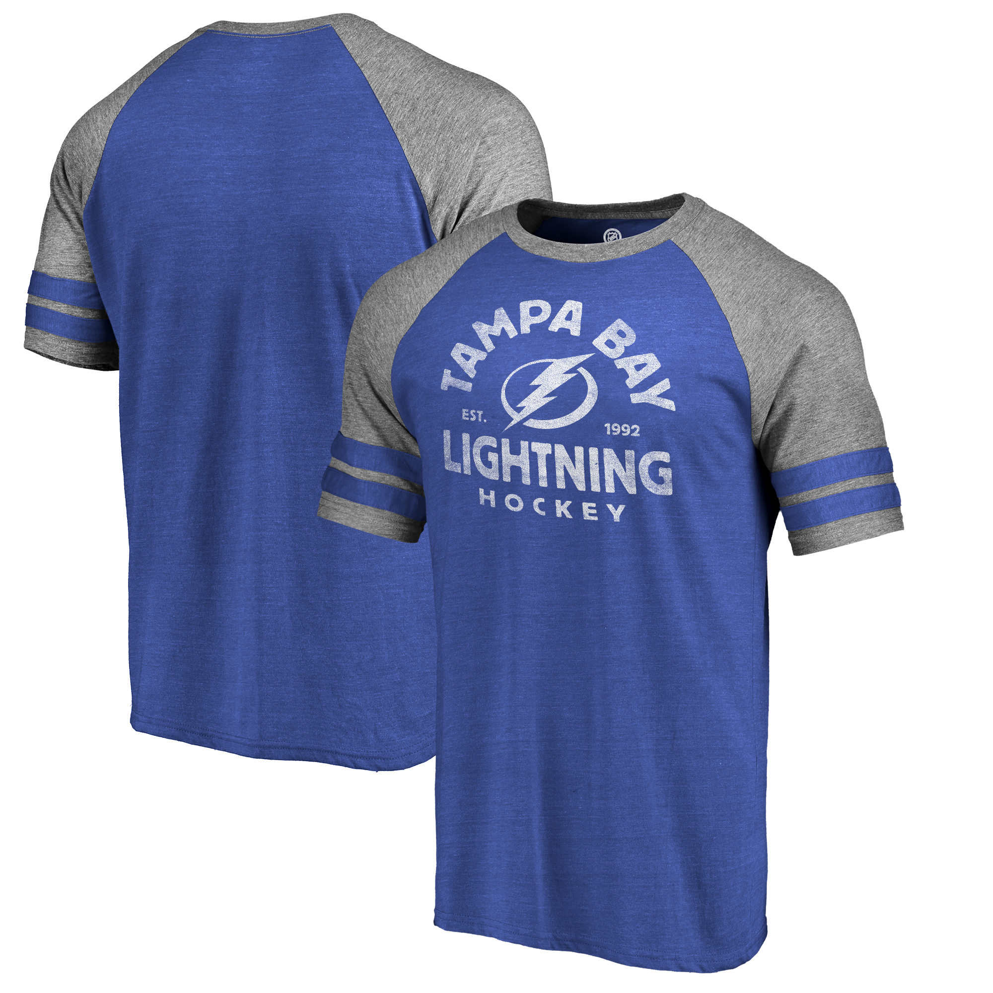 Tampa Bay Lightning Fanatics Branded Timeless Collection Vintage Arch Tri-Blend Raglan T-Shirt - Blue