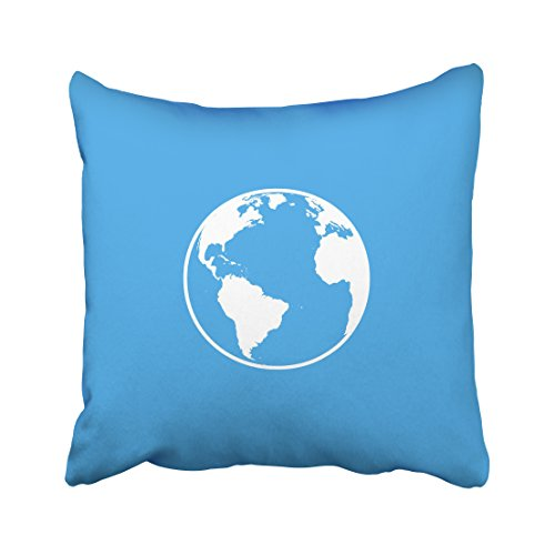 WinHome Minimalist White Earth And Blue Background Decorative Pillowcases With Hidden Zipper Decor Cushion Covers Two Sides 20x20 inches