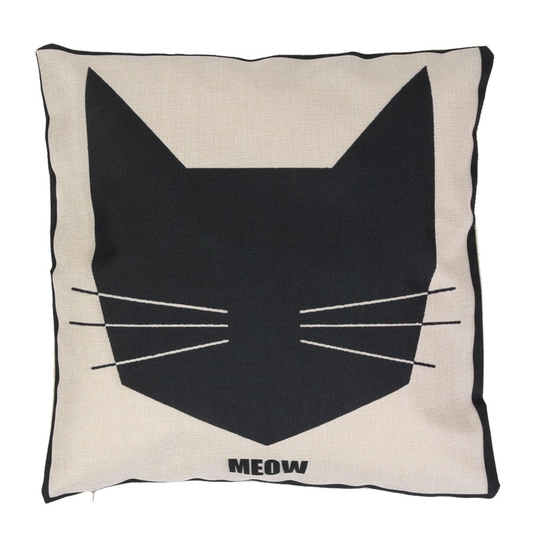 Unique BargainsHome Cotton Linen Cat Print  Table Pillow Slip Cushion Cover 18 x 18 Inches