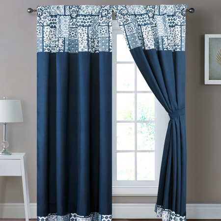 4-Pc Parker Vintage Patchwork Floral Medallion Paisley Scroll Curtain Set Navy Blue White Drape Sheer -