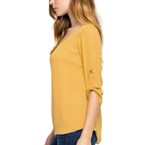 81604f723ec Esho - Esho Women Ladies Casual Loose Long Sleeve Chiffon Tunic ...