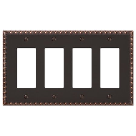 Plated Bronze Finish - Four GFI Rocker Decorative Wall Switch Plate - Oil Rubbed Bronze Finish
