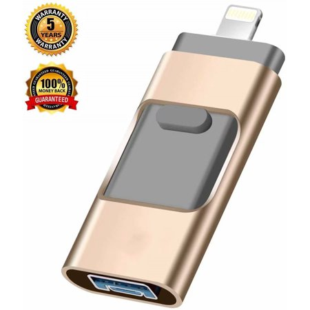 USB Flash Drive for iPhone,iPhone Flash Drive 128GB iPhone External Storage USB 3.0 photostick Mobile for iPhone,Android,PC Photo iPhone Picture Stick(Gold) Flash Drive Pictures