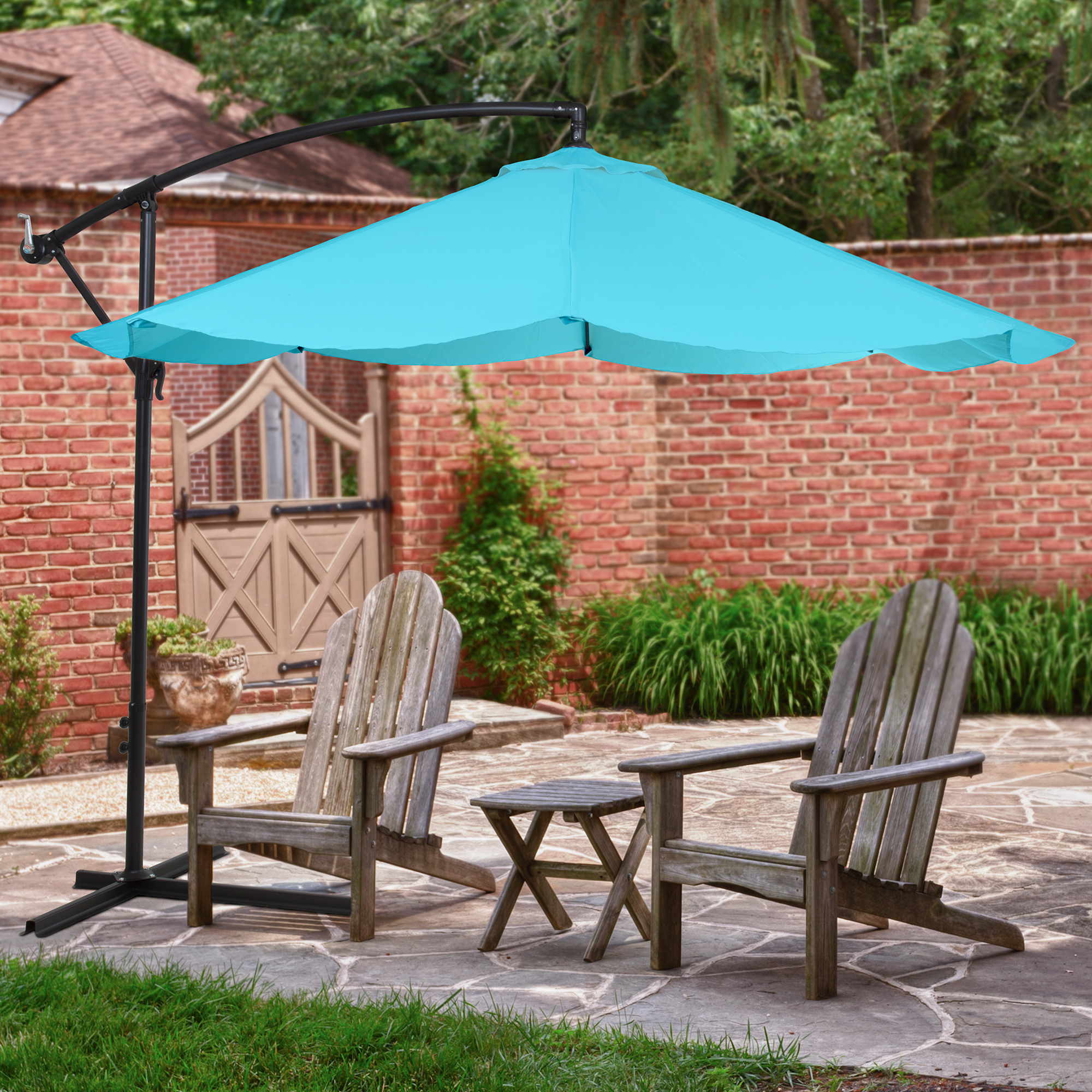 Patio Umbrella, Cantilever Hanging Outdoor Shade, Easy Crank And Base For  Table, Deck, Balcony, Porch, Backyard, Pool 10 Foot By Pure Garden (Blue)  ...