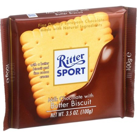 Ritter Sport Chocolate Bar - Milk Chocolate - Butter Biscuit - 3.5 Oz Bars - Pack of 11