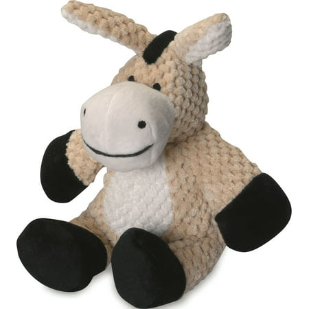 goDog® Checkers™ Donkey with Chew Guard Technology™, Plush Squeaker Dog Toy, Small, Tan](Rubber Donkey Toy)