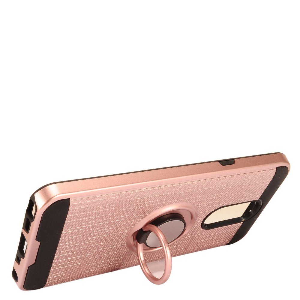 MUNDAZE Rose Gold Brushed Ring Stand Magnetic Ready Case For LG Stylo 4 Phone