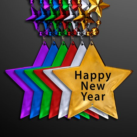 FlashingBlinkyLights New Years Eve Party Star Shaped Bead Necklaces in Assorted Colors (Set of 12)](New Years Colors)