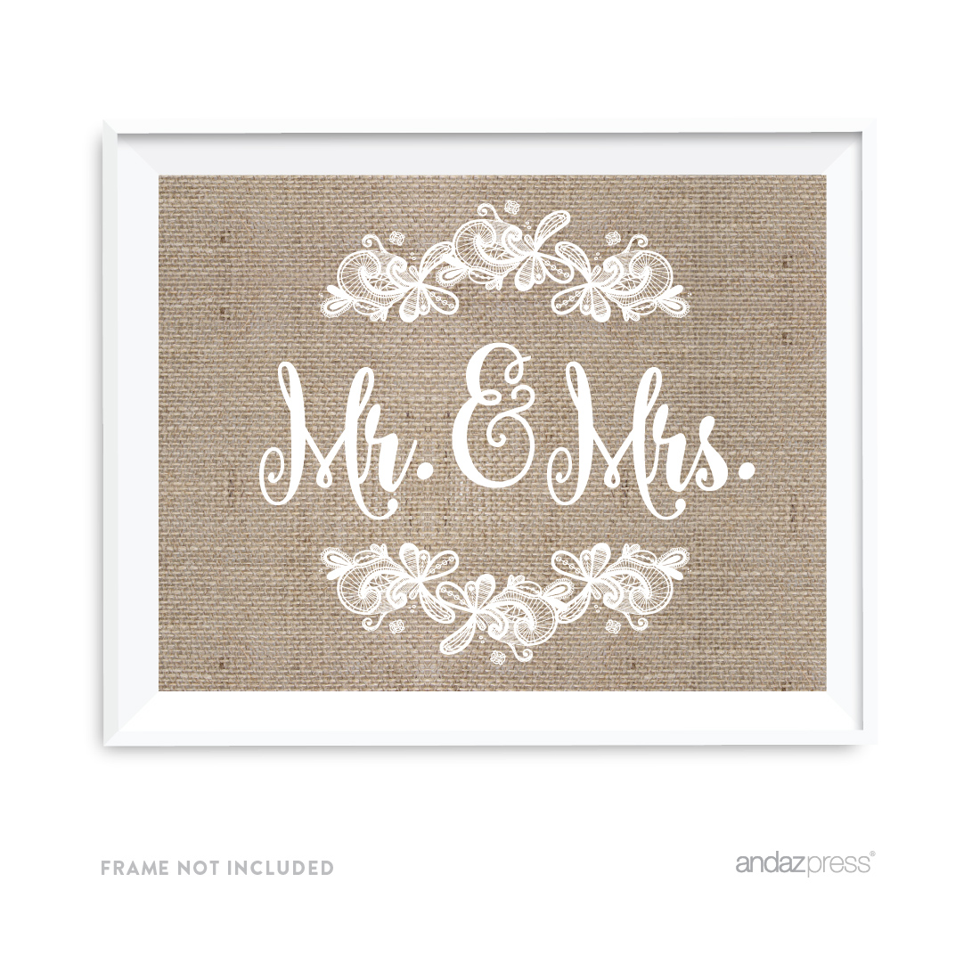 Mr. & Mrs. Burlap Lace Wedding Party Signs