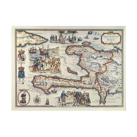 Map of the Island of Haiti, 1789 Print Wall Art