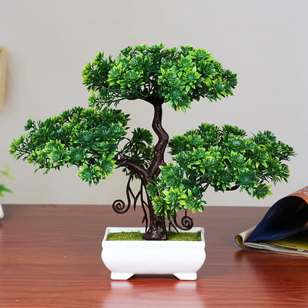 Artificial Pine Bonsai Creative Simulation Tree Plant Home Desktop Decoration Color:Double-deck green -