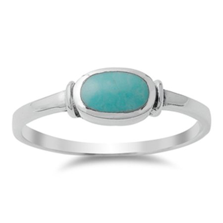 CHOOSE YOUR COLOR Women's Simple Simulated Turquoise Unique Ring New .925 Sterling Silver Band