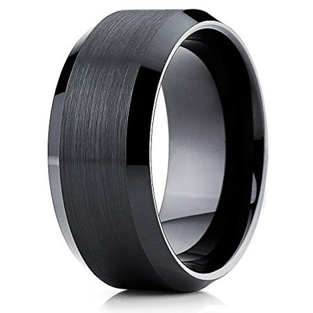 Black Tungsten Wedding Band 10mm Tungsten Ring Beveled Tungsten Carbide Band Pipe Cut Comfort Fit Men Women (6.5)