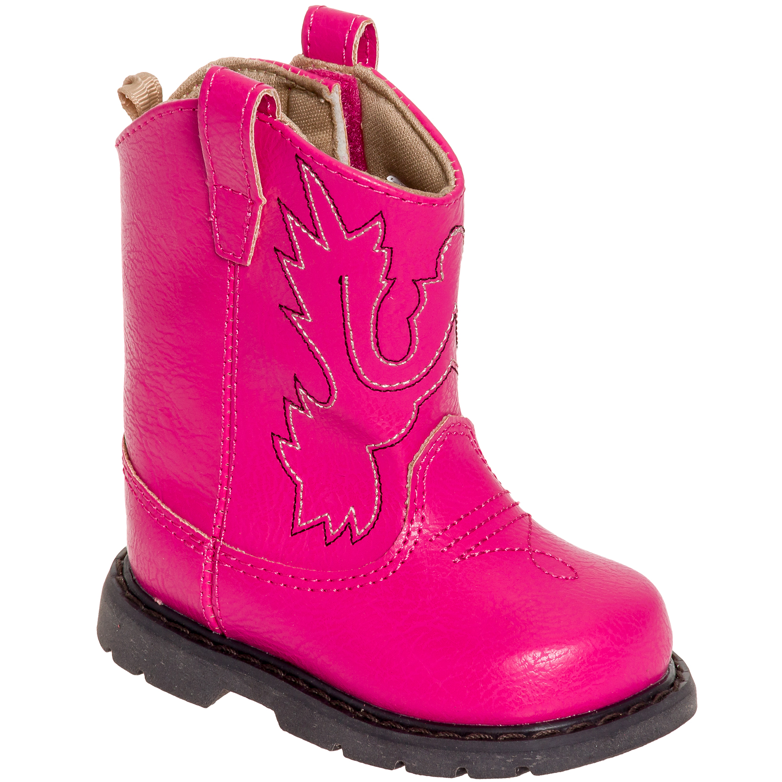 Baby Deer Infant Girls Toddler Western Cowboy Boot Shoes Fuchsia, 5 M US Toddler