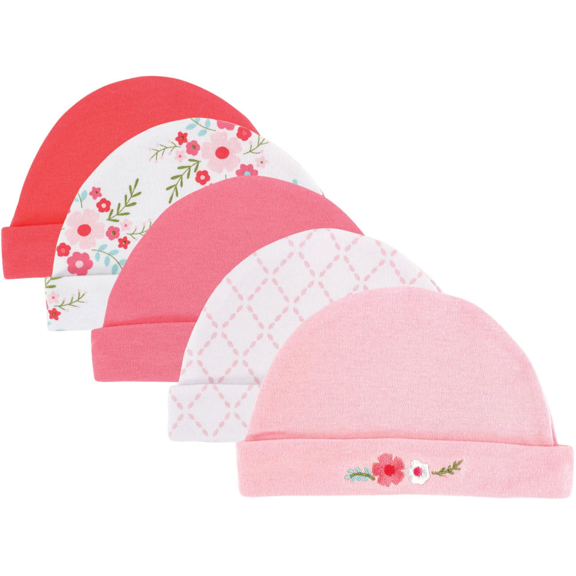 Luvable Friends Newborn Baby Girls Cap 5-Pack - Floral, 0-6 months