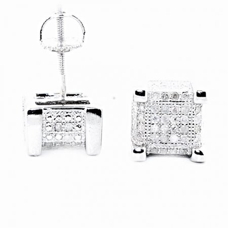 Cube Sterling Silver Earrings - Cube Shaped Diamond Mens Stud Earrings Sterling Silver 8mm Wide Screw Back 0.3cttw