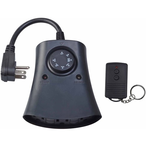 oods 59746WD Outdoor 24-Hour Photoelectric Timer with Remote Control 3-Outlet, 1 Pack, Black