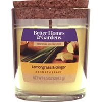 Better Homes & Gardens Scented Jar Candle, Lemongrass and Ginger Aroma, Aromatherapy, 9.5 oz., Single