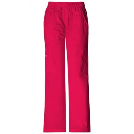 Cherokee Womens Core Stretch Mid Rise Pull On Cargo Pant, Watermelon, XX-Large Petite (Watermelon Pulp)