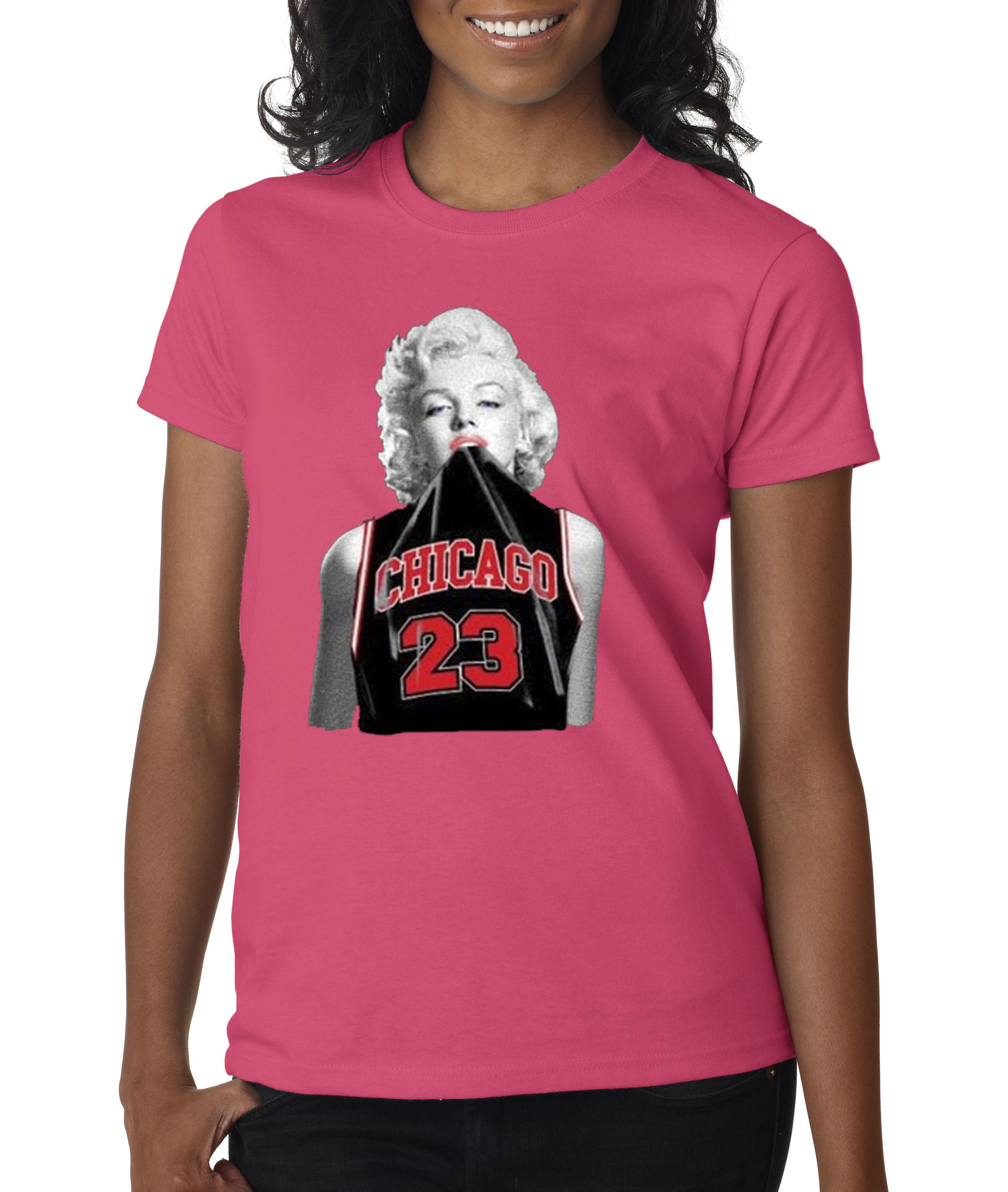 New Way 445 Womens T Shirt Marilyn Monroe Chicago Bulls Jordan 23
