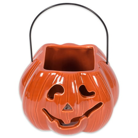 DII Halloween & Fall Orange Pumkpin Treat Bag Candy Dish Decorative Ceramic LED Lantern for Indoor Decor or Outdoor Lighting
