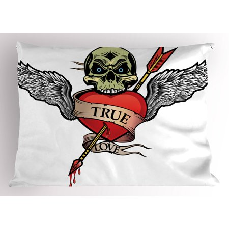 Tattoo Pillow Sham Angel Wings with Skull and Heart Full of Blood Symbol of Real Love Image, Decorative Standard Size Printed Pillowcase, 26 X 20 Inches, Red White and Black, by Ambesonne - Superman Tattoo With Angel Wings