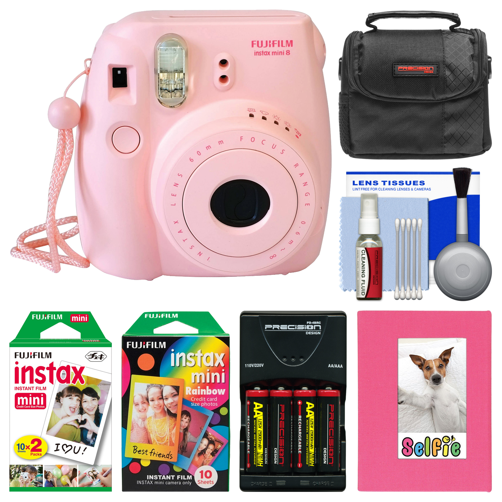 Fujifilm Instax Mini 8 Instant Film Camera (Pink) with Photo Album   Instant Film & Rainbow Film   Case   Batteries & Charger Kit