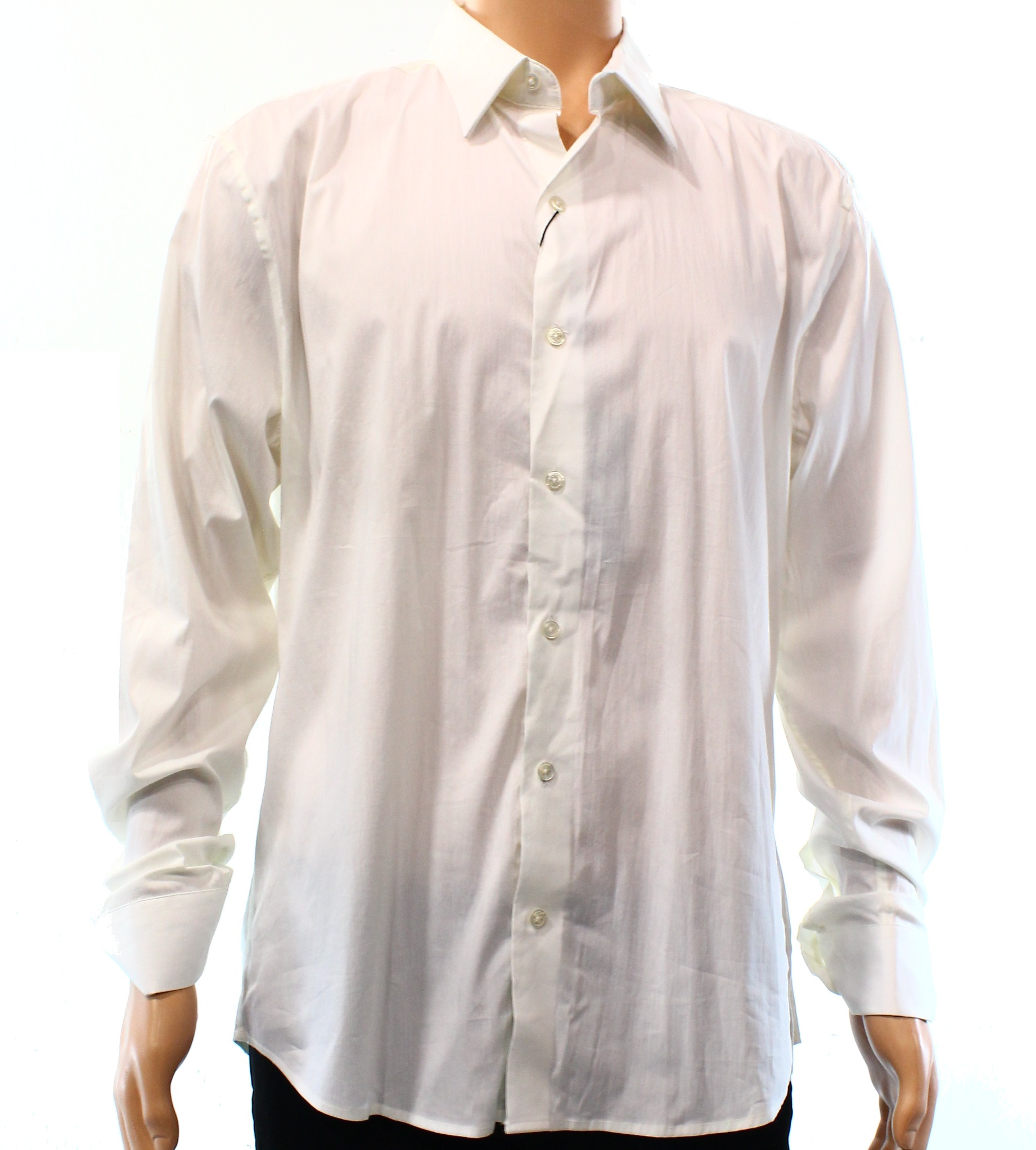 7 Diamonds NEW White Mens Size XL Button Down Solid Woven Shirt