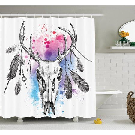 Apartment Decor Collection Deer Skull With Tribal Feathers On Horns And Digital Color Splashes Ethnic