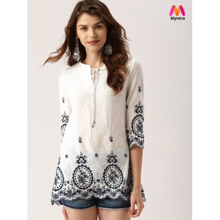 all about you from Deepika Padukone Women White Self Design Top - image 6 de 6