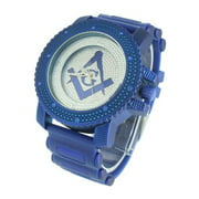 Masonic G Dial Watch Blue Finish Bullet Design Silicone Band Simulated Diamonds
