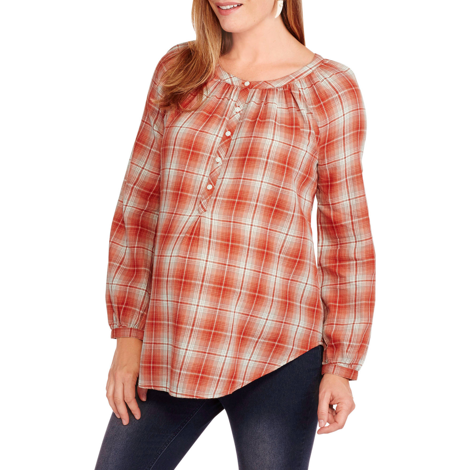 Faded Glory Maternity Plaid Popover Tunic Shirt
