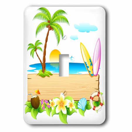 3dRose Tropical beach scene with surfboards, shells, sun, palm trees and more, Double Toggle Switch - Palm Trees And Beach Scenes