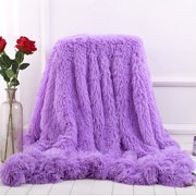 51x63 inch/ 63x79 inch Large Luxury Long Pile Throw Blanket Shaggy Faux Fur Super soft Ultra Plush Decorative Throw Blanket for Sofa, Bed,Car,Office