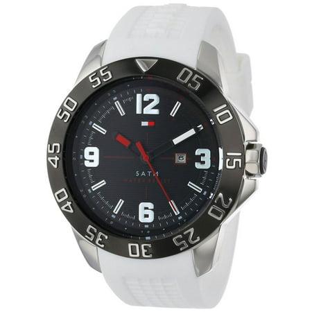 - 1790986 Men's Cole Black Dial Black IP Steel White Rubber Strap Watch