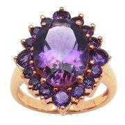 Malaika 14K Rose Gold Plated 6.34 Carat Genuine Amethyst Brass Ring Size 7 - Purple